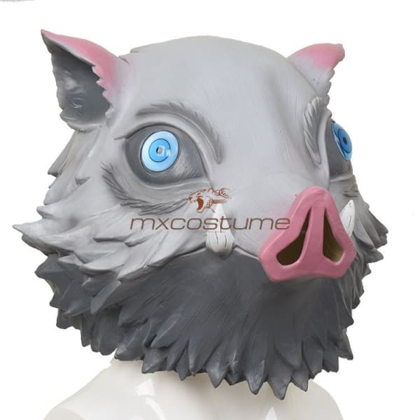 Kimetsu No Yaiba Demon Slayer Hashibira Inosuke Cosplay Latex Mask