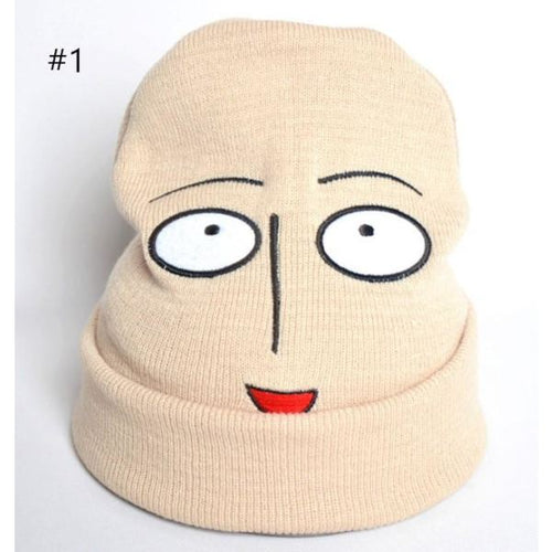 One Punch Man Cosplay Acrylic Fibers Hat With Smiley Face For Couples Accessories