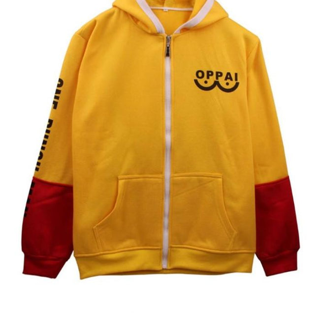 One Punch Man Saitama Cosplay Yellow&red Hoodie For Winter Hoodies