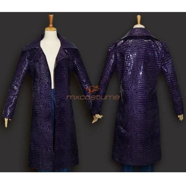 Suicide Squad Joker Purple Cloak Coat Cosplay Costume Costumes