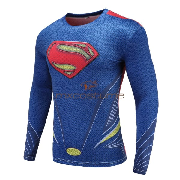Superman Cosplay 3D Printing Long Sleeves T-Shirt