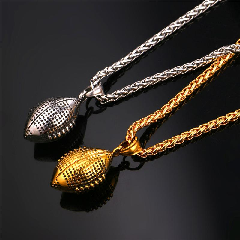 Football pendant necklace wear your truths football pendant necklace aloadofball Image collections