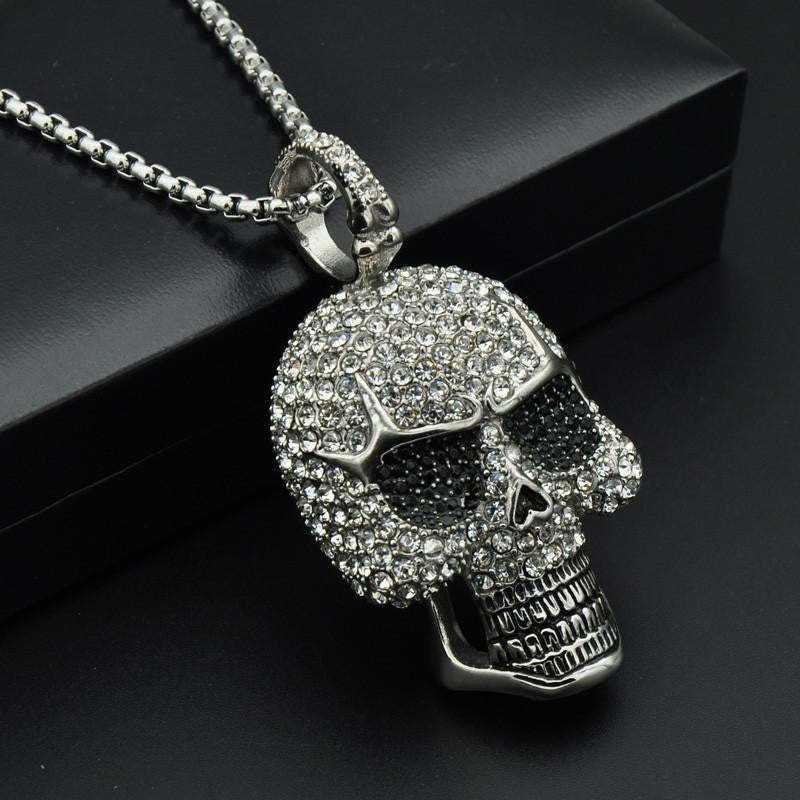 plated trace pendants product sil skull pendant sm sterling gold necklace f silver up small