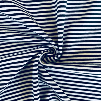 The Perfect Jersey Navy and White Fine Stripe from Stitchy Bee