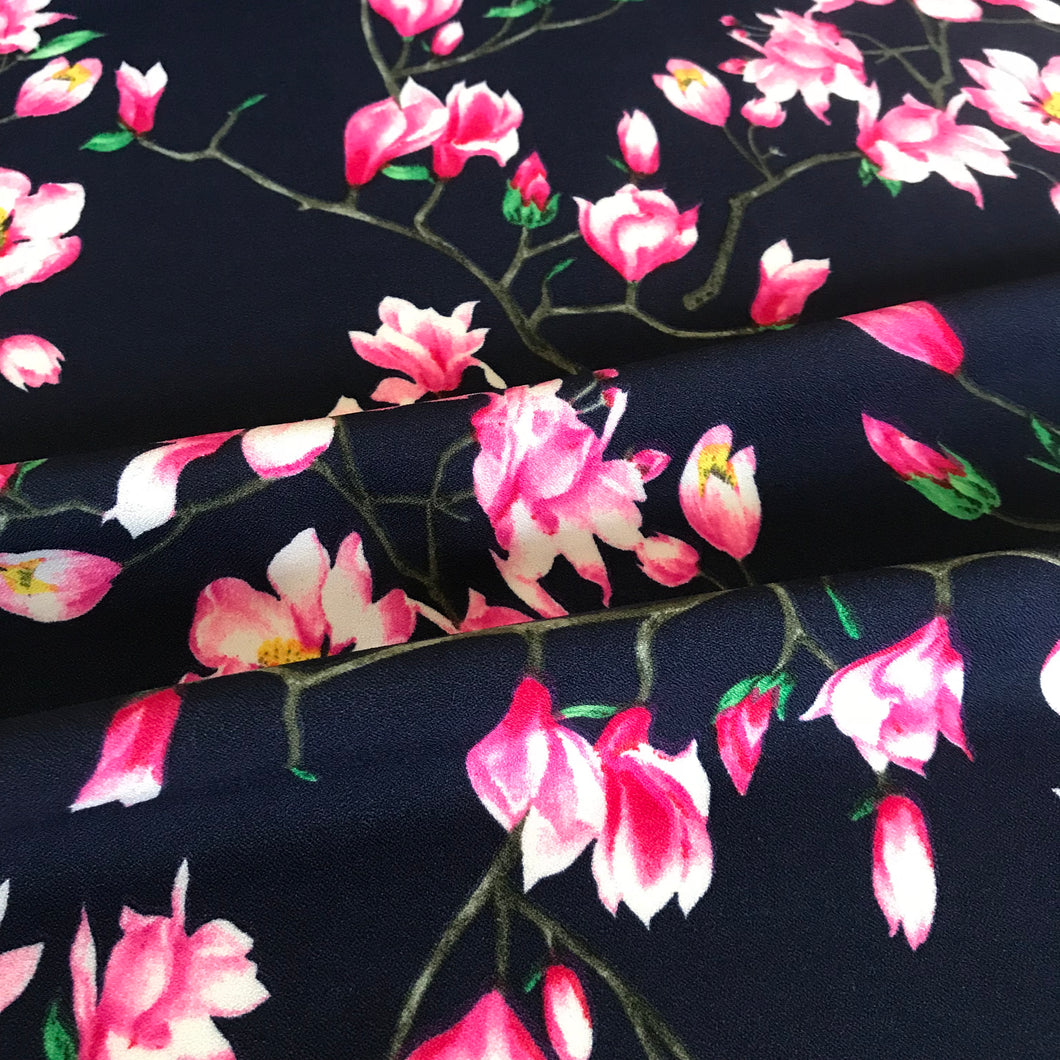 Navy Magnolia Stretch Crepe from Stitchy Bee