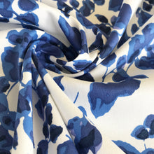 Fancy Floral Stretch Cotton in Azure Blue and White from Stitchy Bee