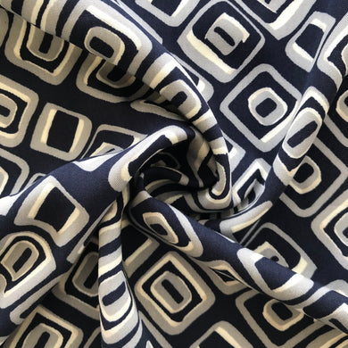 Geo Viscose Twill in Navy and Steel from Stitchy Bee