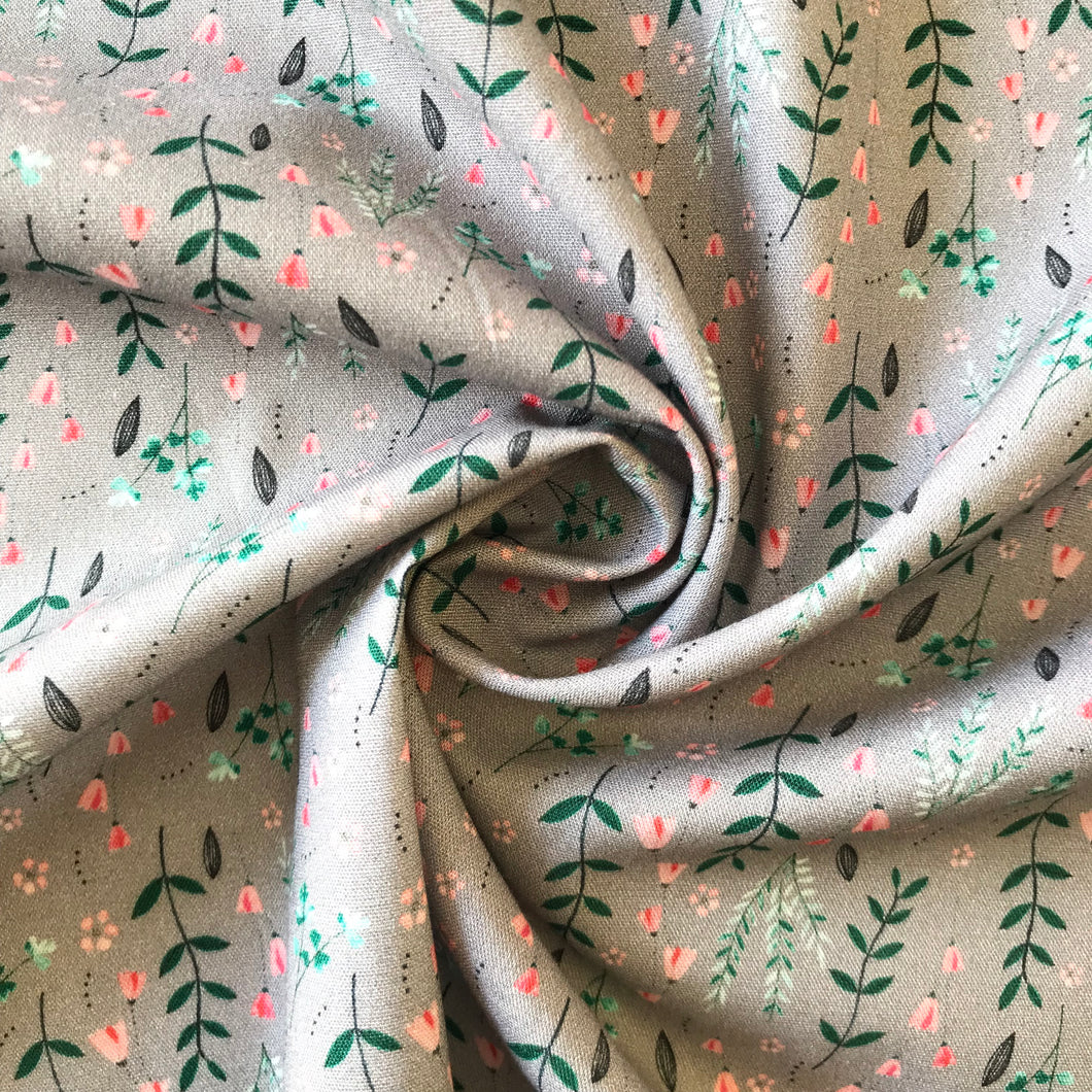 Blush and Fern Grey Cotton Poplin from Stitchy Bee