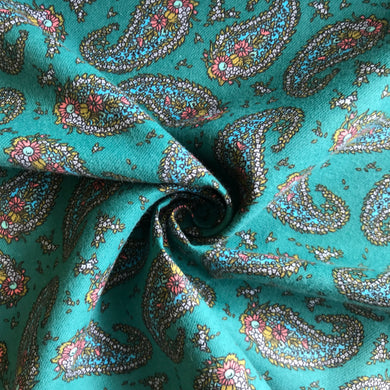 Emerald Paisley Brushed Cotton from Stitchy Bee