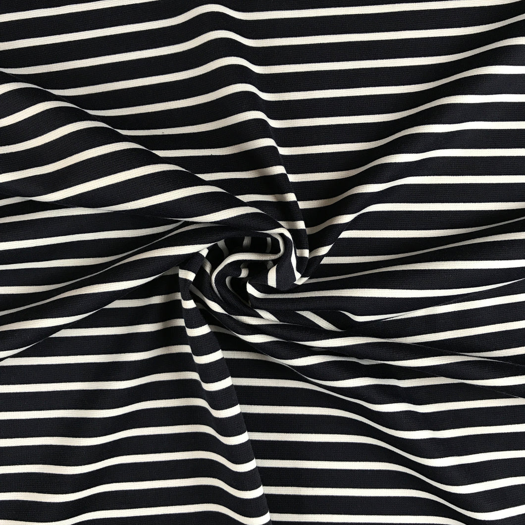 Billy Breton Navy and Ivory Striped Ponte Roma from Stitchy Bee