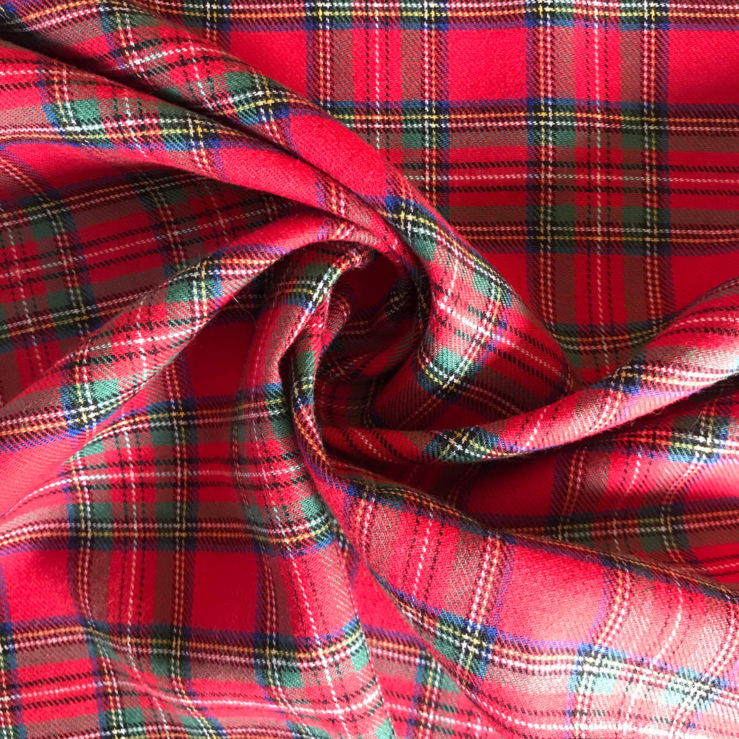Royal Stewart Tartan Check Brushed Cotton - sold by the half metre