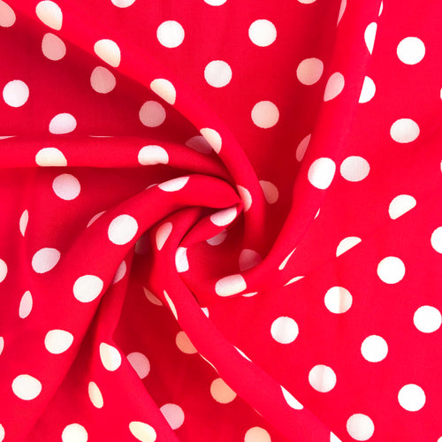 Dotty Red Viscose - sold by the half metre