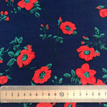Bryony Rose Navy Viscose - sold by the half metre