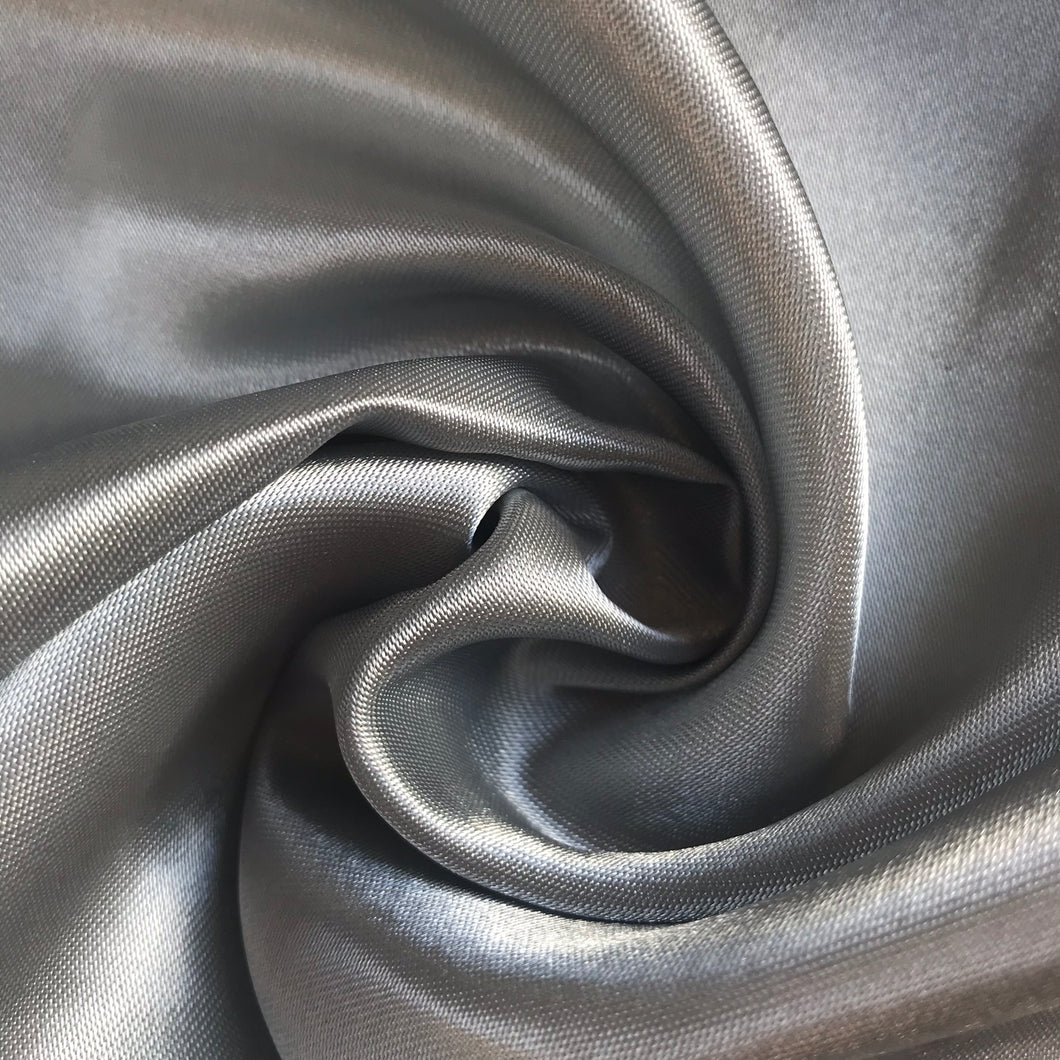 Silver Grey Satin - sold by the half metre