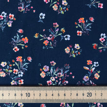Pansy Bouquet Navy Jersey - sold by the half metre