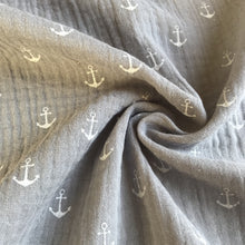 Anchors a Grey Double Gauze 100% Cotton from Stitchy Bee