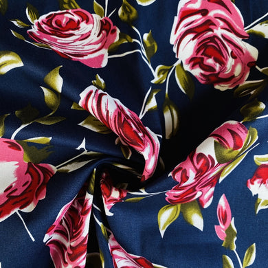 Big Roses Navy Stretch Cotton from Stitchy Bee