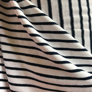 French White and Navy Stripe Viscose Jersey - 92cm Remnant