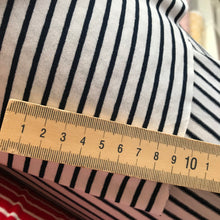 French White and Navy Stripe Viscose Jersey - sold by the half metre