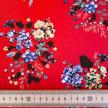 Winter Red Bouquet Peachskin with stretch from Stitchy Bee