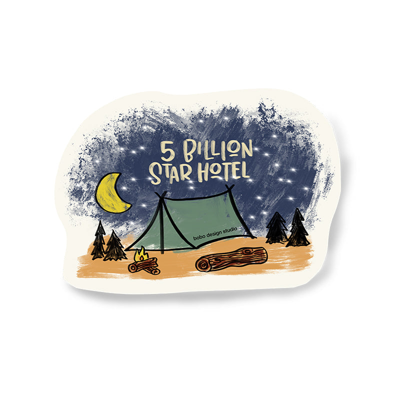 5 billion start hotel sticker featuring a tent under the stars by bobo design studio