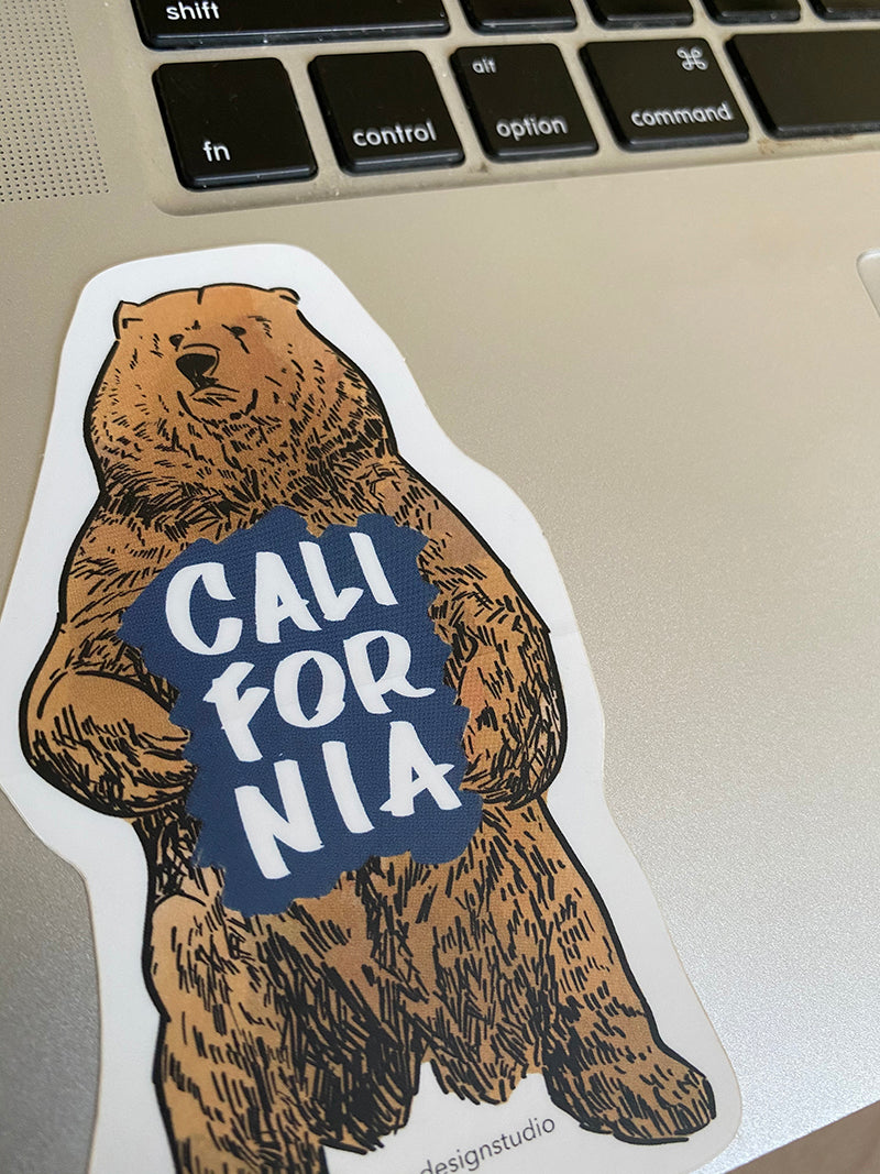 California Bear sticker by bobo design studio on laptop