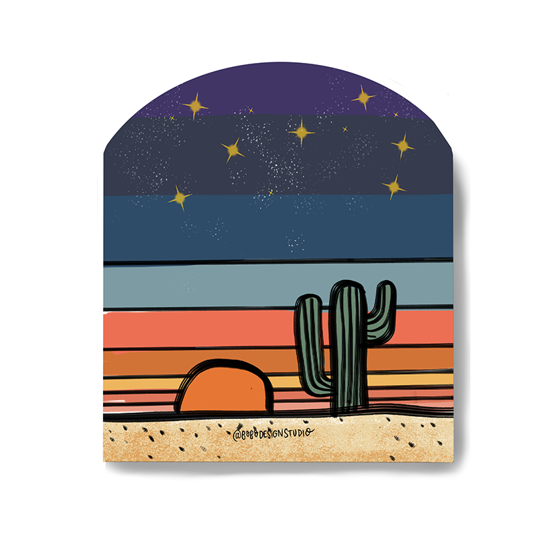 bobo design studio sticker of cactus at sunset titled Desert Globe