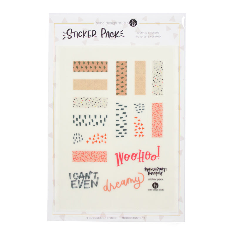 Desert Sprinkles Sticker Tape Sheet. Clear stickers with glossy finish. Perfect for the Wanderlust Passport Travel Journal