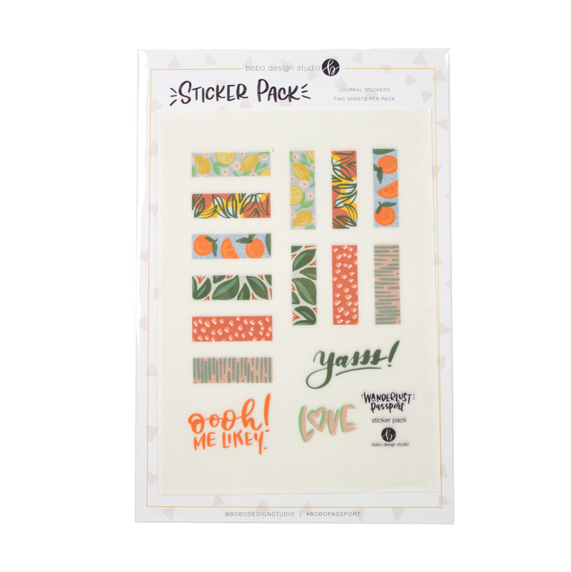 Farmers Market Sticker and Tape set for the Wanderlust Passport.  These fruit inspired sticker tapes are a high gloss clear sticker perfect for your planner