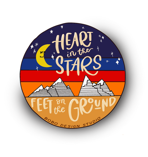 Heart in the Stars Feet on the Ground Sticker