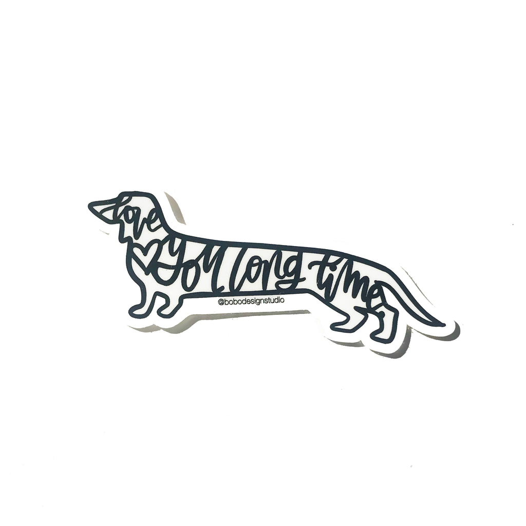 bobo design studio dachshund love you long time sticker on white background