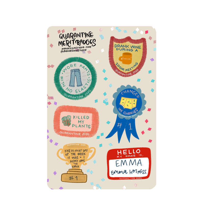 Quarantine Merit Badges Sticker Sheet- 4x6