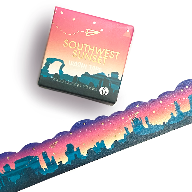 Southwest Sunset- Cloud Cut Gold Foil Washi Tape