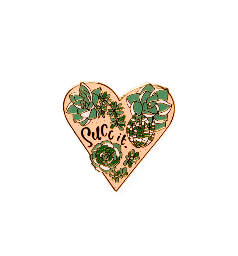 bobo design studio succ it succulent enamel pin on white background