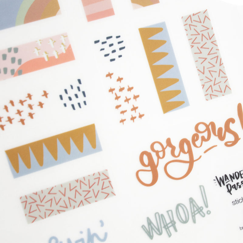 Wanderlust Passport Sticker Pack- Terracotta Sprinkles Theme (2 sheets)