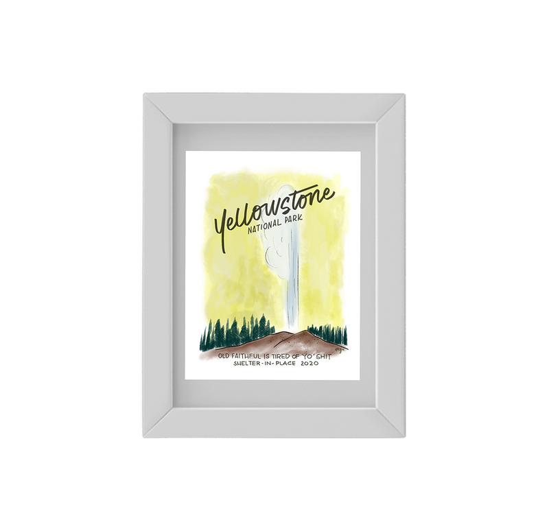 The Wish You Weren't Here, Yellowstone Anti-Travel Postcard Framed