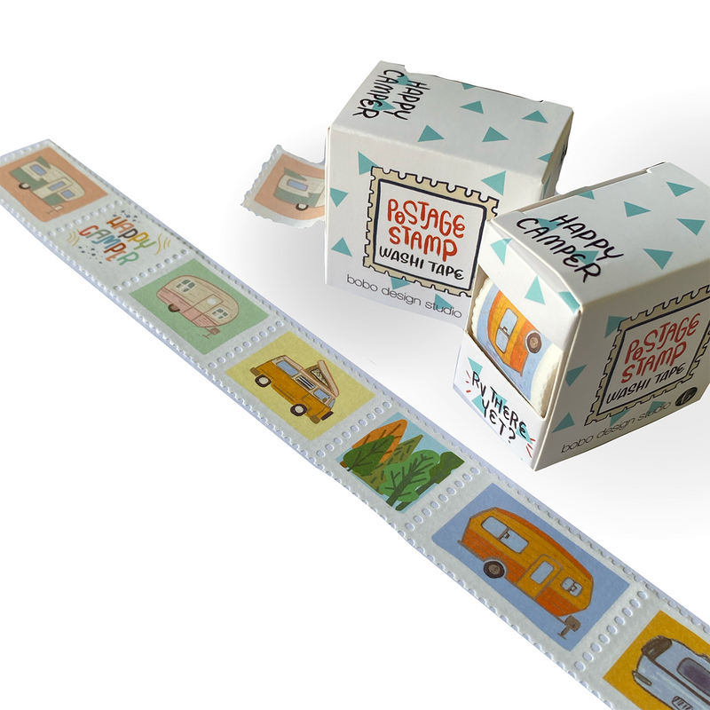 Happy Camper Postage Stamp Washi Tape by bobo design studio has little perforated stamps featuring different campers and RVs. Perfect for the RV traveler in your life.