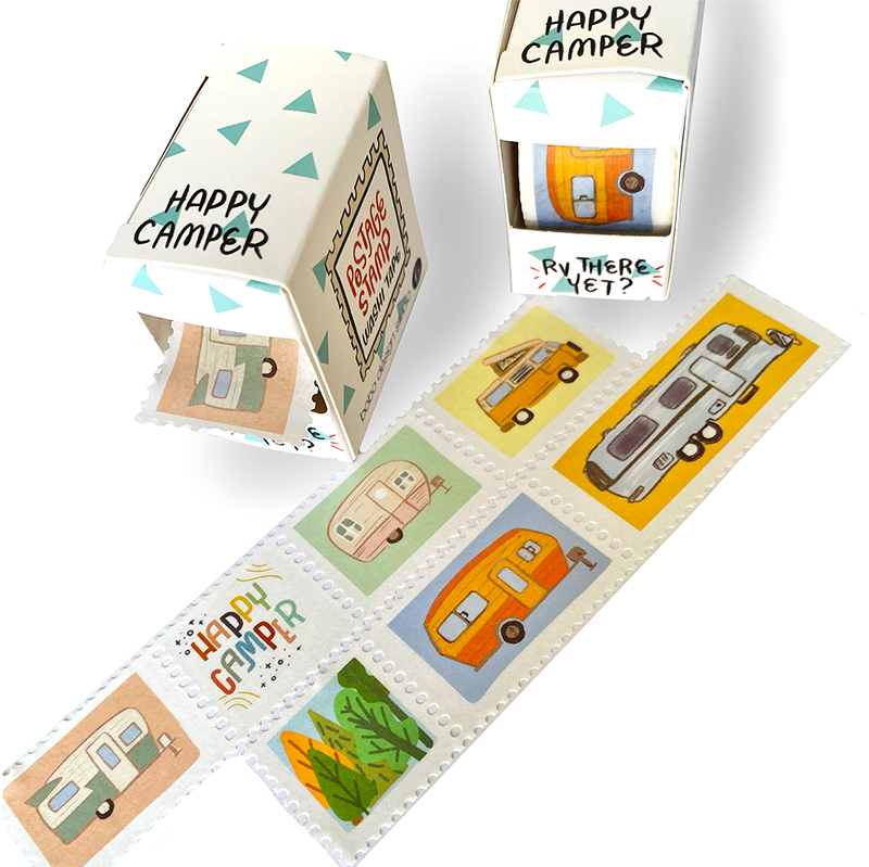 Happy Camper Postage Stamp Washi Tape by bobo design studio has little perforated stamps featuring different campers and RVs.