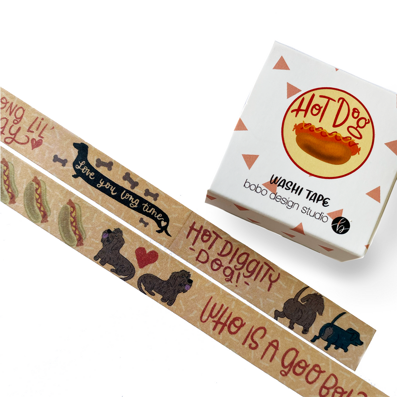 Hot Dog Dachshund themed washi tape by bobo design studio