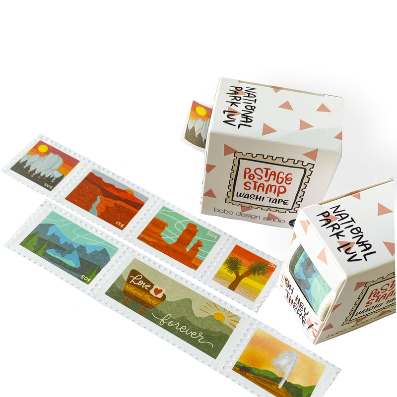 National Park Luv Postage Stamp Washi Tape Bundle featuring all the bobo design studio washi tapes in the postage stamp style with a bundle discount