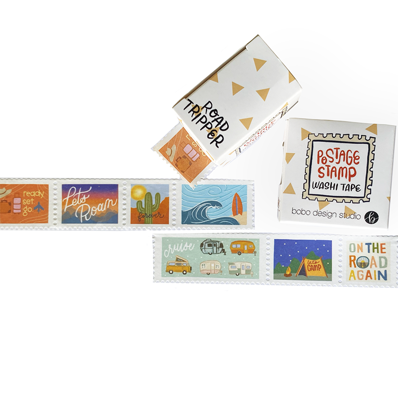 Road Tripper Postage Stamp Washi Tape Bundle featuring all the bobo design studio washi tapes in the postage stamp style with a bundle discount