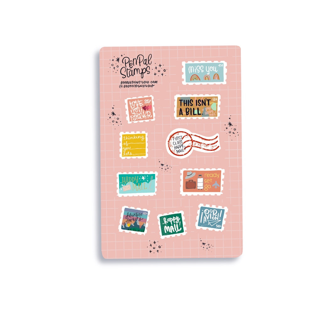 bobo design studio Pen Pal sticker sheets with stamps you can send in your hand written letters or for your journal or planner