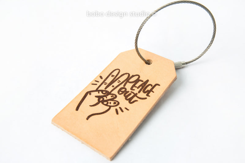 bobo leather luggage tag  peace out