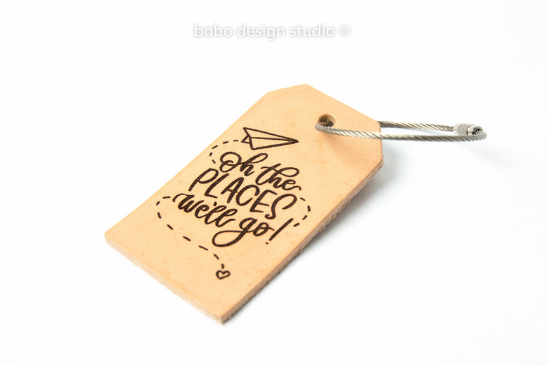 bobo leather luggage tag oh the places we'll go