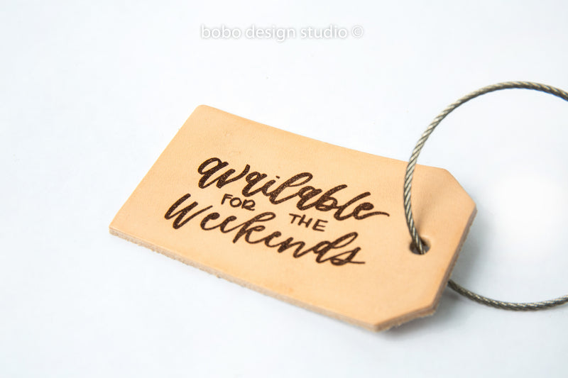 bobo leather luggage tag available for the weekends
