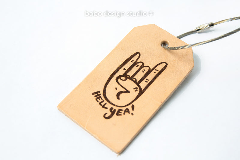 bobo leather luggage tag hell yeah