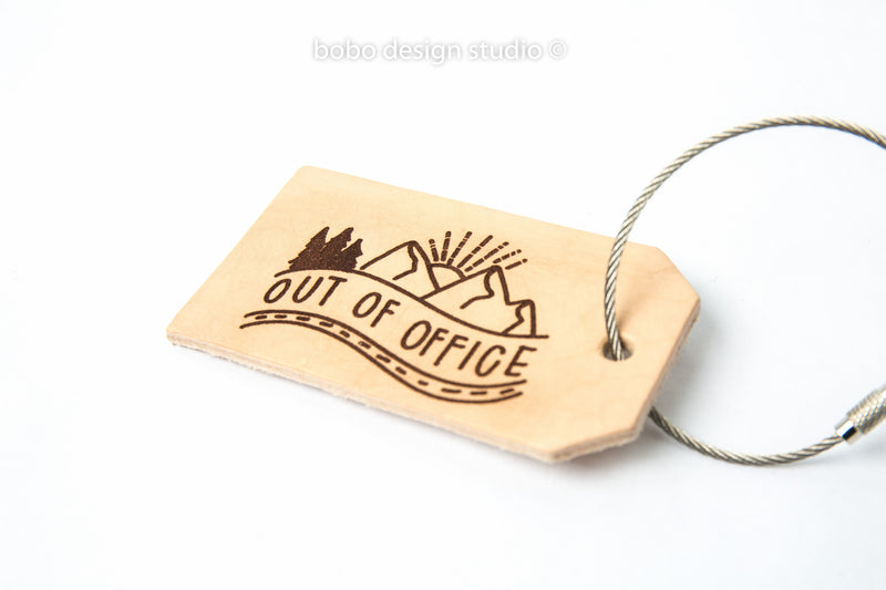 bobo leather luggage tag out of office