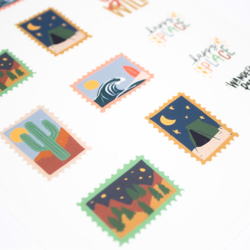 Stamp shaped stickers that celebrate the outdoors by bobo design studio