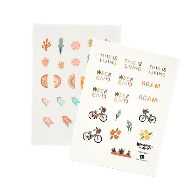 Bicycles and Bouqets is the perfect whimsy sticker set for your journal, planner, scrapbook or Wanderlust Passport