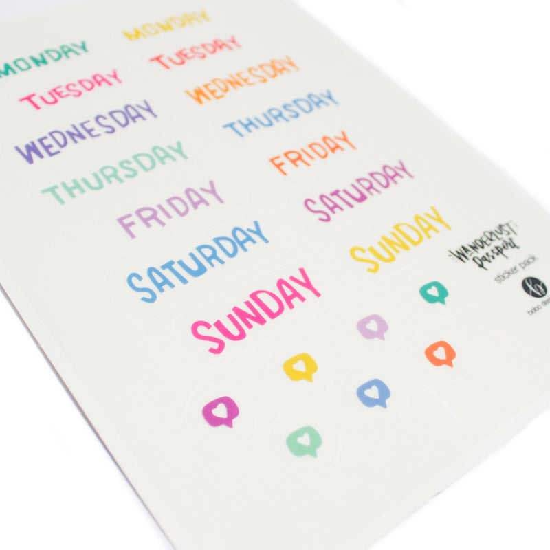 Wanderlust Passport Sticker Pack- Days of the Week Bright